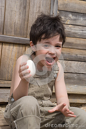 The boy with egg