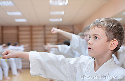 Boy is engaged in karate
