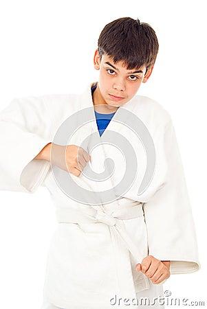Boy engaged taekwondo