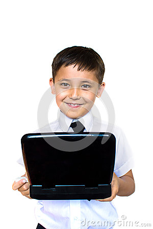 Boy enthusiastically looking at laptop