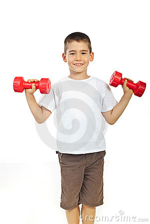 Free Boy Exercising With Barbell Royalty Free Stock Images - 21183079