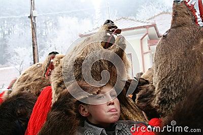 Boy expression at Bear dance parade Editorial Stock Image