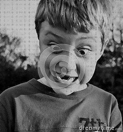 Boy Expression Halftone Style