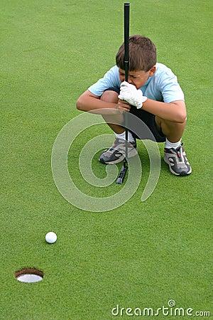 Boy Eyeballs Gimme Golf Putt