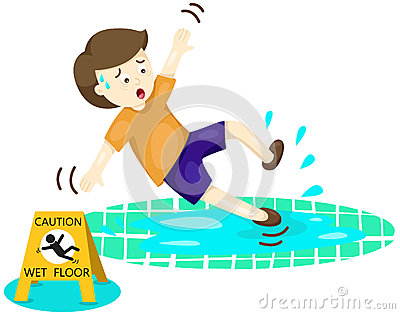 Boy Falling On Wet Floor Stock Vector Image 42317715