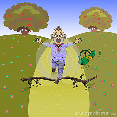 Free Boy Falls, He Stumbled On A Dry Twig Royalty Free Stock Image - 73386136