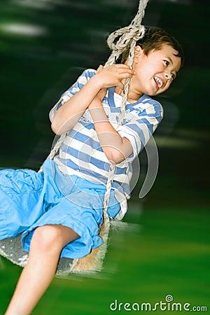 Boy on fast swing