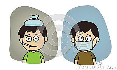 Boy feeling sick illustration