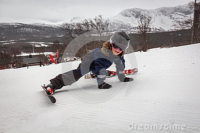 Boy fell of the ski lift Editorial Photography