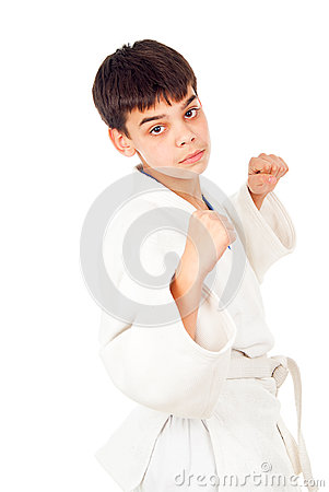 Boy fighting techniques isolated