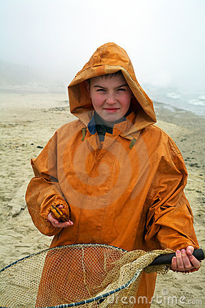 Boy with fisherman s coat
