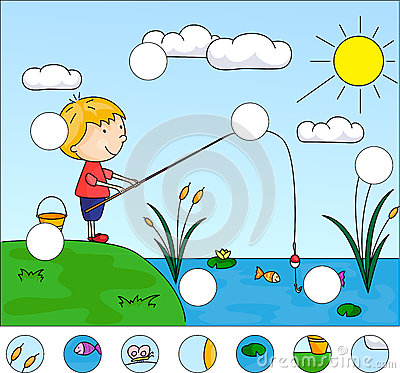 Free Boy Fisherman With Fishing Rod On The Lake. Complete The Puzzle Royalty Free Stock Image - 69522656