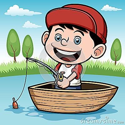 Boy fishing in a boat