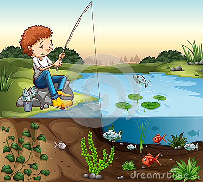 Free Boy Fishing By The River Stock Photo - 63092670