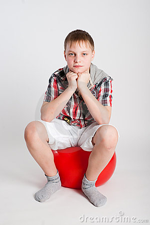 Boy on fitball
