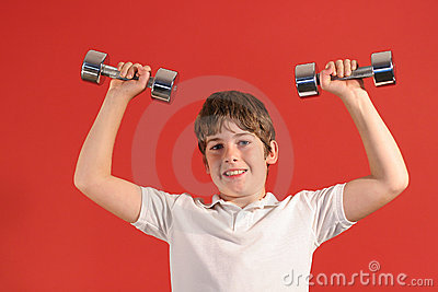 Boy with fitness weights 2