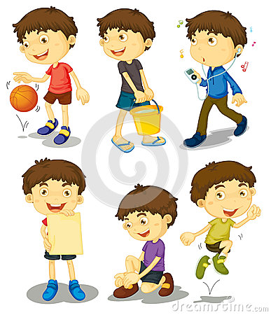 Boy in five poses