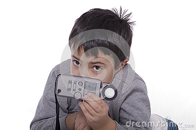 Boy and flash meter