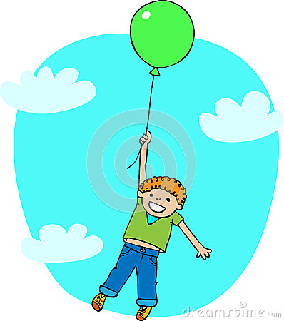 The boy flies on a ballon