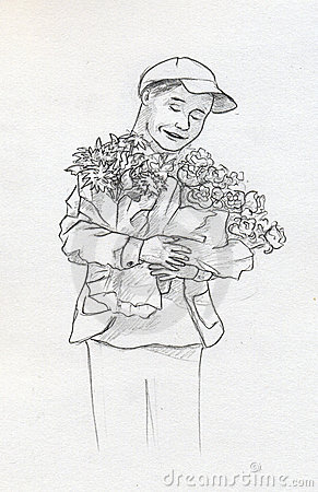 Boy with flowers - sketch