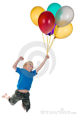 Boy Flying Behind Balloons