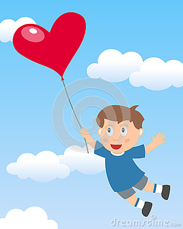Boy Flying with Heart Balloon