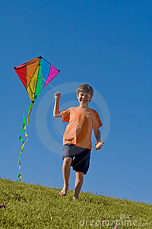boy flying a kite stock photo image 7793140