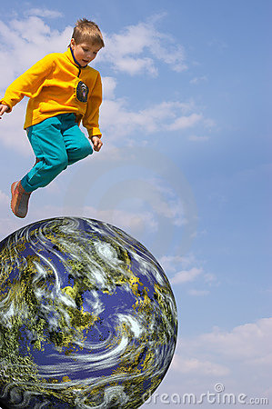 Free Boy Flying Over The Earth Stock Images - 850644