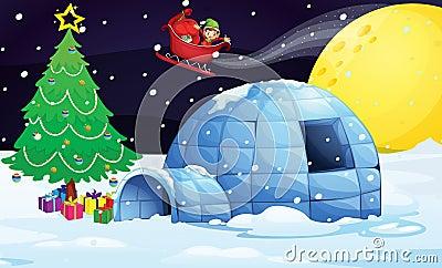 Boy in flying sleigh
