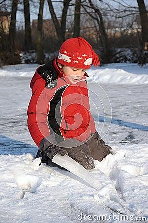Boy on frozen river