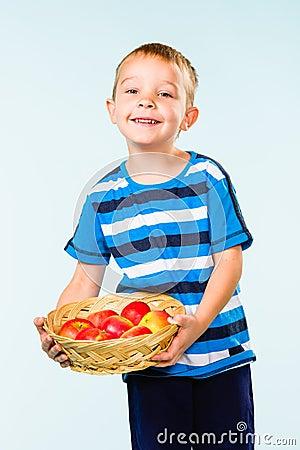Boy and fruit basket