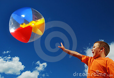 Boy fun with beachball