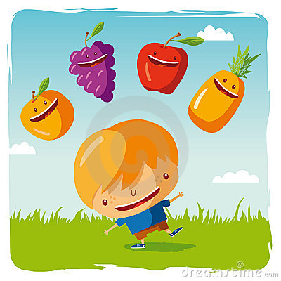 Boy with funny fruits