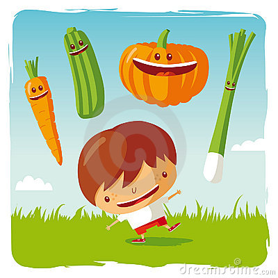 Boy with funny vegetables