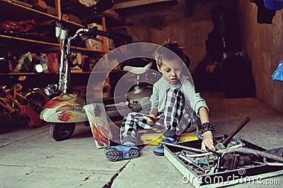 Boy in the garage