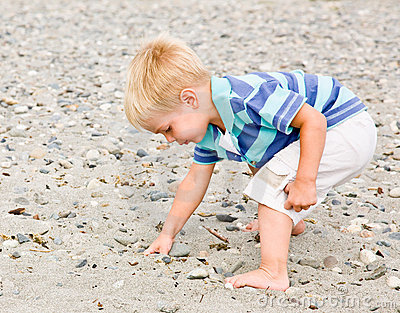 Boy gathering rocks at beach
