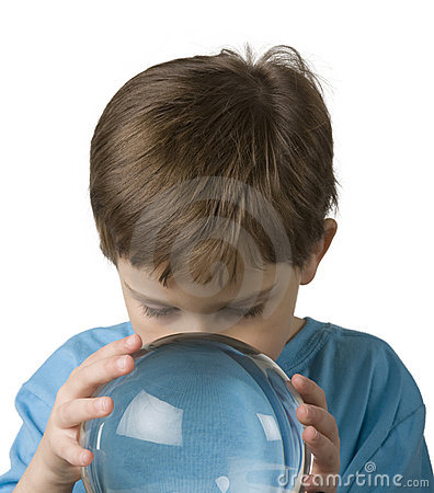 Boy Gazes into a Crystal Ball