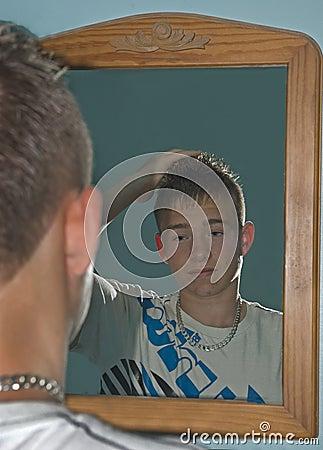 Boy Gelling Hair