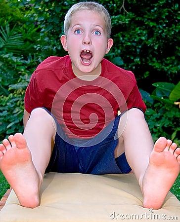 Boy getting a fright