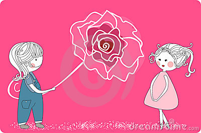 Boy with giant rose