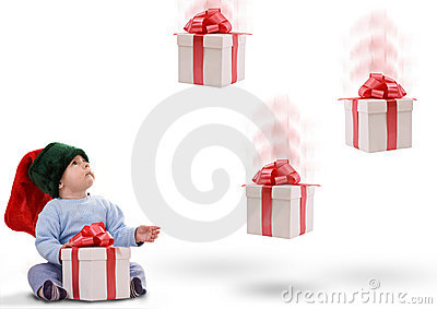 Boy with gifts falling down