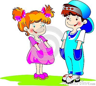 Boy&gilr color illustration