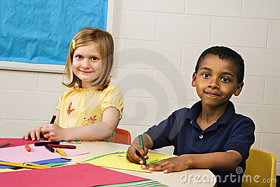 Boy and Girl in Art Class
