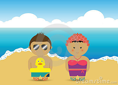 Boy & girl at the beach