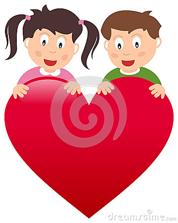Boy and Girl with Big Heart