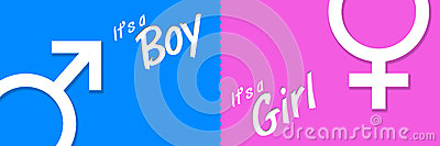 Boy Girl Blue Pink Banner Stock Photo