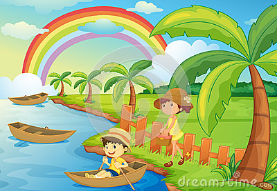 A boy and girl are boating