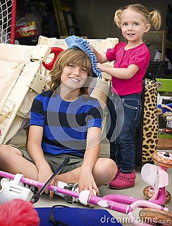 Children Cleaning the Garage