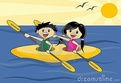 Boy and Girl in Canoe