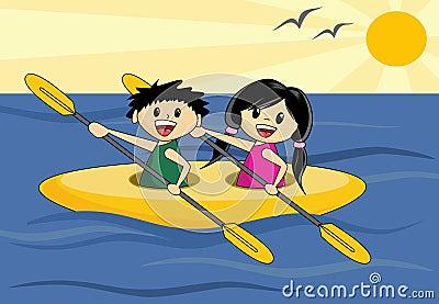 Boy and Girl in Canoe